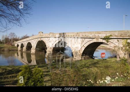 Atcham Old Bridge Shropshire England UK Built in 1776 By John Gwynne spans River Severn - Stock Photo
