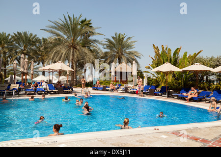 5 Star Hilton Hotel And Beach With Guests On Holiday Jumeirah Beach Stock Photo Royalty Free
