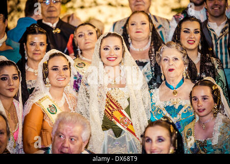Valencia, Spain. March 18th, 2014: The 'Fallera Mayor' 2014, Carmen Sancho de Rosa, pictured after a religious ceremony - Stock Photo