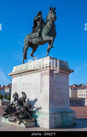 Famous statue of Louis XIV, Place Bellecour in Lyon, France - Stock Photo