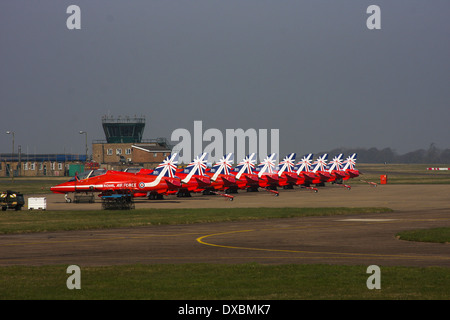 Royal Air Force Red Arrows 2014 with new tail art - Stock Photo
