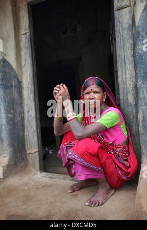 Portrait of a tribal woman. Malhar caste. Kendwatoli village, District Hazaribaug, Jharkhand - Stock Photo