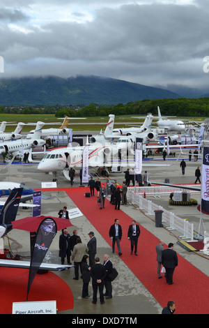 Business aircraft at the 2013 EBACE exhibition, located at the  Palexpo and Geneva International Airport. - Stock Photo