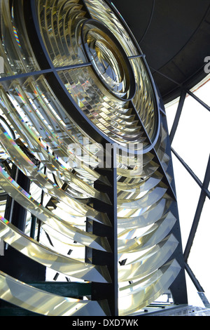 Fresnel lens on the lamp at the Lizard Lighthouse, Cornwall, England. - Stock Photo