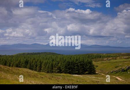 The island of Jura as seen from the Kintyre Peninsula,Argyll - Stock Photo
