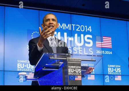 Barack Obama united states US president visits EU portrait headshot serious speak speaking hands - Stock Photo