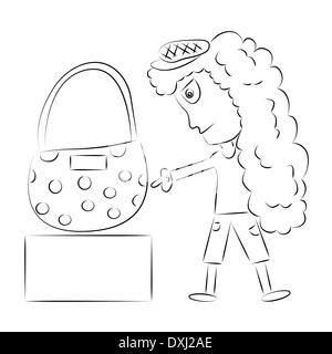 Illustration of girl shopping bag - Stock Photo