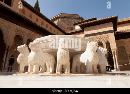 The Court of the Lions, Alhambra Palace, Granada, Spain as it was in Stock Ph...