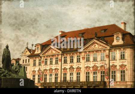 Vintage image of Kinsky Palace and the Jan Hus Monument in Prague, Czech Republic - Stock Photo