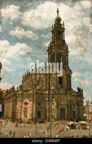 Vintage image of the Hofkirche in Dresden, Germany - Stock Photo