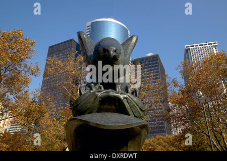 Bronze Eagle at the American Battle Monument in Battery Park, New York NY - Stock Photo