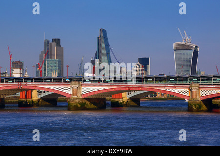 River Thames with Blackfriars Bridge and the City of London skyline in London, England - Stock Photo