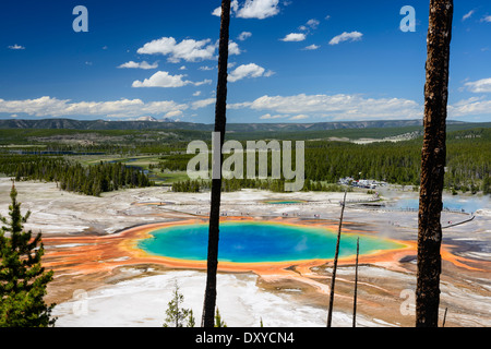 Grand Prismatic Spring as seen from above. Part of the Midway Geyser Basin in Yellowstone National Park. - Stock Photo