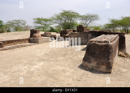 India, Gujarat, Lothal, ruins of ancient city, Lothal Indus Valley Civilization  - Stock Photo