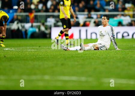 Madrid, Spain. © D. 2nd Apr, 2014. Cristiano Ronaldo (Real) Football/Soccer : UEFA Champions League Round of 8, - Stockfoto
