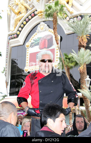 Las Vegas, NV USA, 4th April 2014:  Guy Fieri Celebrity Chef, Restauranteur, Author And Award-Winning TV Host Announces - Stock Photo