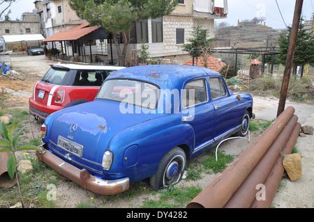 Mercedes benz c180 next to new bmw mini in village outside for Mercedes benz lebanon