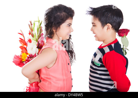 Indian Kids Couple Bouquet  Presents - Stock Photo