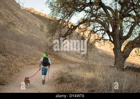 Mature man and his basset hound hiking in Santa Monica Mountains, California, USA - Stock Photo