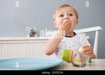 Baby boy eating cupcake - Stock Photo