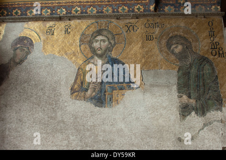 Byzantine mosaic of Jesus with Mary and John the Baptist, in the Hagia Sophia, Istanbul. - Stock Photo