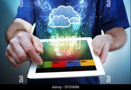 Digital tablet, multimedia and cloud computing - Stock Photo