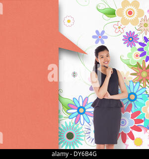 Composite image of thoughtful asian businesswoman with speech bubble - Stock Photo