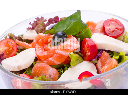 Salad with red fish salmon vegetable and cheese - Stock Photo