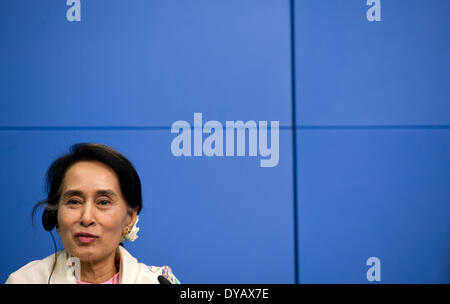 Berlin, Germany. 12th Apr, 2014. The Burmese Nobel Peace Prize Laureate Aung San Suu Kyi is pictured during a press - Stock Photo