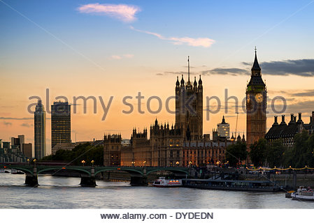 Sunset skyline of Big Ben and Houses of Parliament in London. - Stock Photo