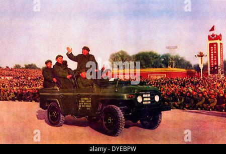 Mao Ze Dung (1893-1976) Chines communist leader reviews military cadets circa 1965 - Stock Photo