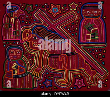 Mola textile by Kuna Indian artist, depicting a biblical scene. From the San Blas Archipelago, Panama.  Reverse - Stock Photo