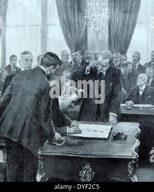 Closing session of the Versailles peace conference 1920. - Stock Photo