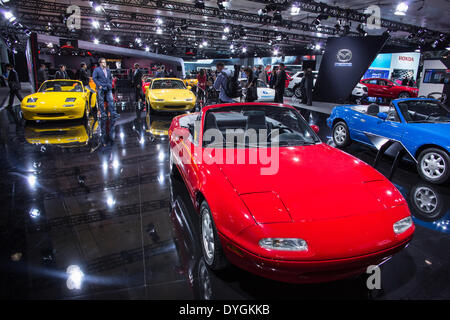 New York, USA. 16 April 2014. Mazda's stand features a collection of its Miata car models in celebration of the - Stock Photo