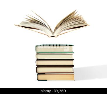 Offenes Buch über Stack zu schweben - Stockfoto