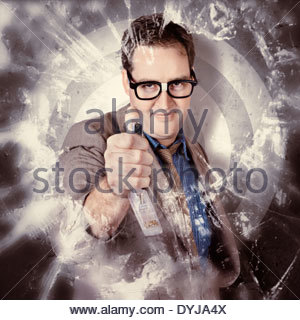 Vintage portrait of a determined male office administration clerk holding staple gun while aiming at opposition. - Stockfoto