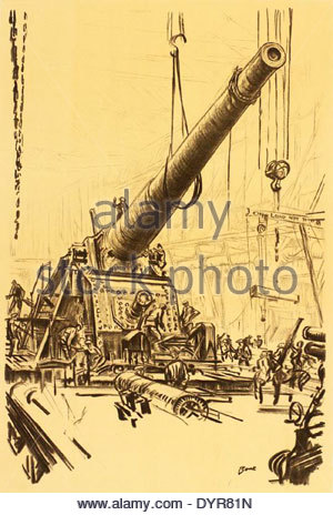 1235 War Drawings by Muirhead Bone- Mounting a Great Gun Art.IWMREPRO00068419 - Stock Photo
