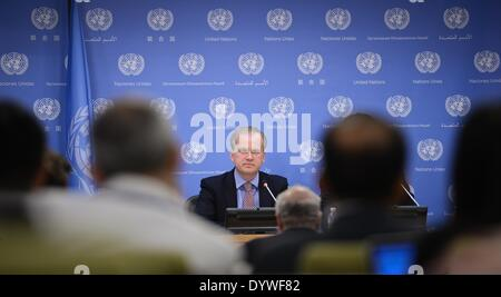 New York, USA. 25th Apr, 2014. Ukrainian Deputy Foreign Minister Danylo Loubkiesky attends a press briefing at the - Stock Photo