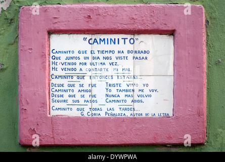 Text des Liedes Tango 'Caminito'. Caminito Straße. La Boca-Viertel. Buenos Aires. Argentinien - Stockfoto