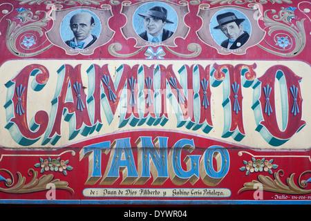 Caminito street mural painting.La Boca district.Buenos Aires.Argentina - Stockfoto