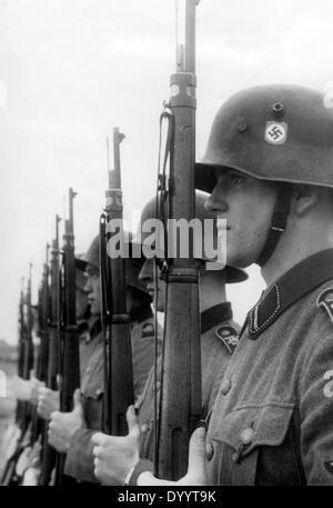 SS Leibstandarte Adolf Hitler during military exercises, 1938 - Stock Photo