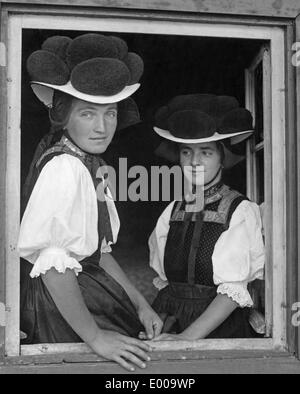 Women in traditional costume in Gutach near Hornberg, 1934 - Stock Photo