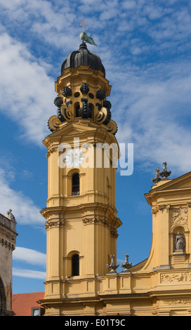 The south tower of the Theatinerkirche, Munich, Bavaria, Germany. - Stock Photo