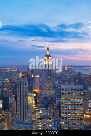 Elevated View towards the Empire State Building at Sunset, New York, USA - Stock Photo