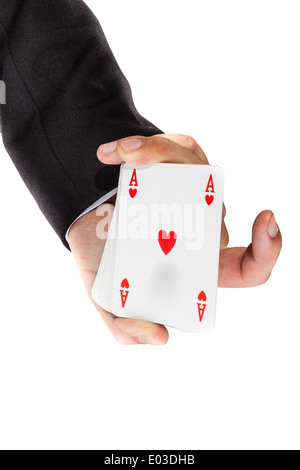 an elegant young businessman showing an ace in his hand - Stock Photo