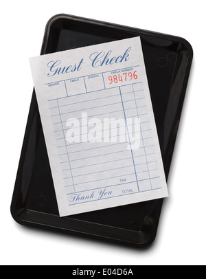 Blank Resturant Receipt on Tip Tray Isolated on a White Background. - Stock Photo