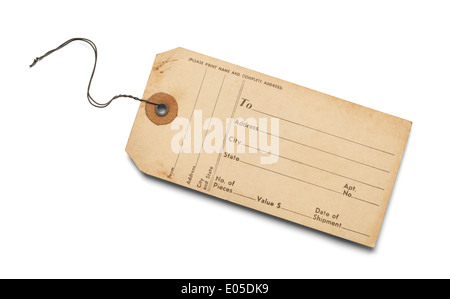 Old Bag Tag With Copy Space Isolated on White Background. - Stock Photo