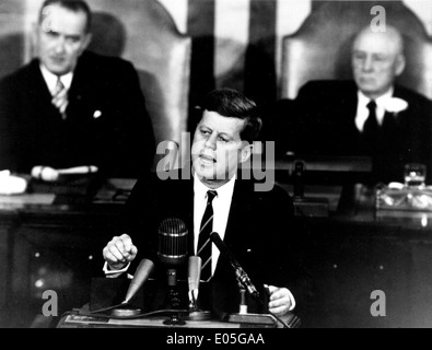 John F. Kennedy Giving Historic Speech to Congress - Stock Photo