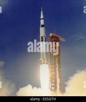 Apollo 11 Launched Via Saturn V Rocket - Stock Photo