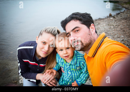 Portait of familiy with toddler boy, Austria - Stockfoto